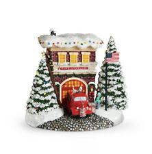 Thomas Kinkade Festive Fire Station Village Collectible Holidays Keepsafe - New