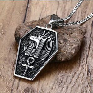 qP Stainless Steel Egyptian Anubis Ankh Tomb Necklace (Unisex)