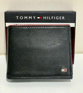 TOMMY HILFIGER BLACK RFID PROTECTION BILLFOLD GENUINE LEATHER & VALET WALLET $48