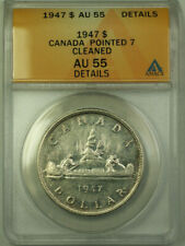 1947 *Pointed 7* Canada $1 Dollar Silver Coin ANACS AU-55 Details (Better Coin)