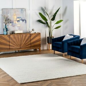 nuLOOM Hand Made Contemporary Modern Braided Wool Area Rug in Solid Off White