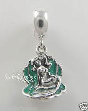 ARIEL & SEA SHELL Disney LITTLE MERMAID Genuine PANDORA Green ENAMEL Charm/Bead