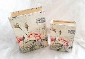 Storage book pair, vintage style pink floral pattern, largest 27cm-NEW