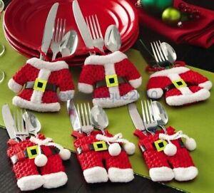 6Pcs Xmas Cutlery Holder Red Christmas Santa Trousers & Jacket Table Decoration