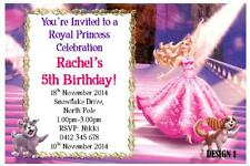 1 x BARBIE CHILDRENS GIRLS BIRTHDAY PERSONALISED INVITATIONS + FREE MAGNETS