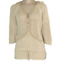 DKNY Jeans Open Knit Hoodie Sweater women's Top Size Large Ivory 1/4 Zip