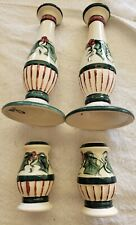 Gail Pittman HOLLYLUJAH Candlesticks - 2 Candle Holders and salt and pepper 1995