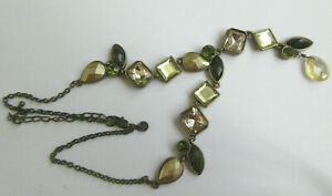 Lovely Shades of Green & Gold Faceted 'Gems' Pendant Necklace Marks & Spencer