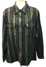 Jones New York Country Shirt Long Button Down Blouse Top Striped Wool Size 16 XL
