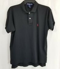 Polo Ralph Lauren Men Polo Shirt Large Black Tennis Tails Banded Short Sleeves