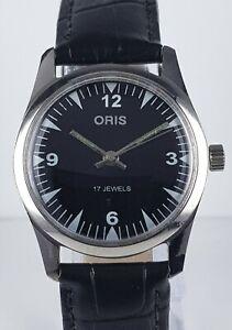 ORIS 17 Jewels Black Dial Leather Band Handwinding Vintage Men's WristWatch ST96