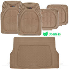 Beige Deep Dish All Weather HD Rubber Mats Package - 5pc Floor Liners Cargo Mat