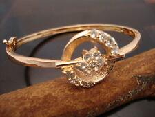 White Clear Crystal Fashion Bangle Bracelet Gold Plated Brass Fine (TN197)