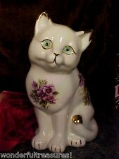 Cat Figurine Statue LAVENDER PURPLE Flowers GOLD PLATED & GLASS EYES FOLLOW YOU!