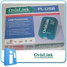 Powerline Bridge Ethernet Ovislink PL-USB (2 unidades) Internet red electrica