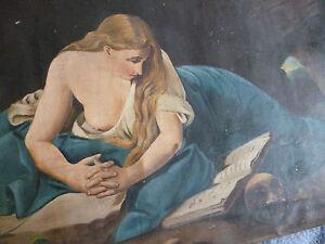 Büssende Maria Magdalena Bild ohne Rahmen L: 96 cm B: 57 cm gebr