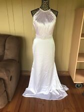 Pure White Ada's Bridal Beaded Satin Wedding Dress