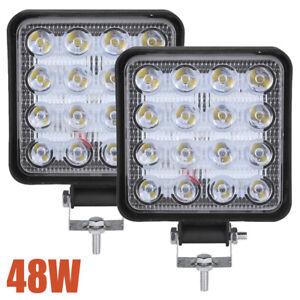 2x 48W LED Arbeitsscheinwerfer Offroad Scheinwerfer 12V für Jeep SUV Bagger Auto