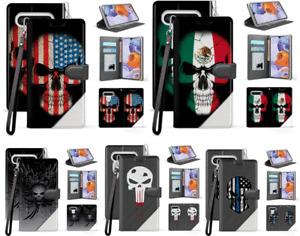 Skull Design Folio Flip Wallet Phone Card Case Cover For LG Stylo 6 5 5+ Plus 5x