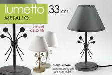 LAMPADA H33 CM DA TAVOLO COMODINO LUMETTO ABAT JOUR METALLO COLOR WXP 620010