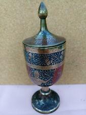 BELLISSIMO, antico, Indiano/Kashmiri, ottone/Blu e Rosso Smaltato con Coperchio calice.