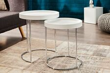Table d'appoint rond blanc CHROME Ensemble de deux Set Table-plateau JEU 2