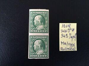 US stamps 1908 Washington 1c grean pair Imperf.Scott # 343 MH OG