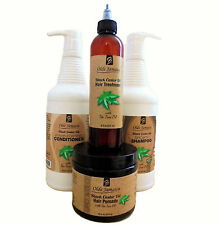 Olde Jamaica Black Castor Oil SALON SIZE COMBO for damaged hair & hair loss