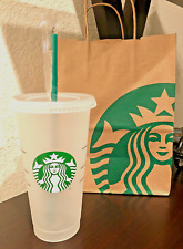 New Starbucks Logo Reusable Ice / Cold To Go Cup With Straw 24oz Venti Size