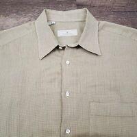Ermenegildo Zegna Men's Shirt Size Large Tan Gray Micro Check