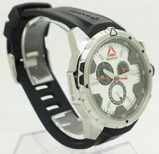 REEBOK RD-IMP-G6-S1IB-1B Impact Chrono Black Silicone Silver Dial Watch w/Case