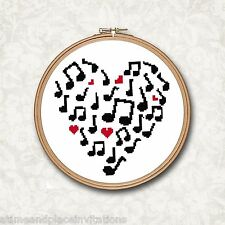 Music Note in Silhouette Red Heart Counted Cross Stitch Pattern