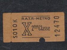 [COLLECTIONS] TICKET de METRO RATP ANCIEN - X - 2ème Classe Billet Railway