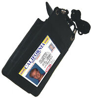 BLACK Leather ID CARD Holder Work Travel Pouch Neck Badge Strap Utility Pocket