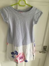 Girls Joules Short Sleave Dress Size 7-8 Years Blue And White Stripped
