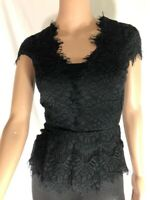 Bebe Women's Top Blouse Peplum Black Lace Floral Short Sleeve V-Neck Size XXS