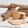 Christmas Pattern Wooden Rolling Pin Carved Wood Embossing Gift Kitchen Tool