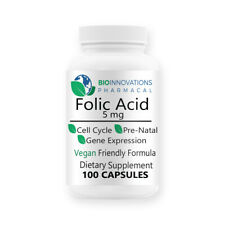 Bio-Innovations Folic Acid 5 mg Folate Vitamin B9 Exp 6/2022 Freshest Biotech