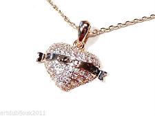Bijou alliage cuivré collier coeur sur chaine I Love You necklace