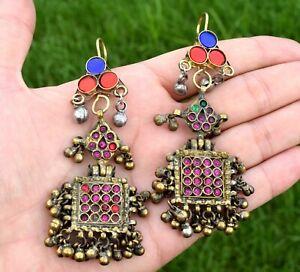 Long Vintage Afghan Kuchi Earrings Tribal Old Pendants Jewelry Ethnic Dance Boho