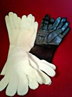 LEE BEGMAN GLOVES 2 Pairs Leatherette, 1 Pair Ivory Knit Gloves. 3 Pairs 1960's