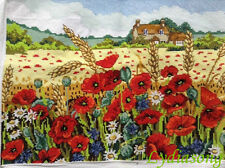"New Completed finished cross stitch""POPPY GARDEN""home decor gifts"