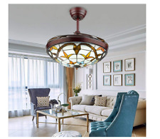 Tiffany LED Ceiling Fan Light Acrylic Retractable Blades Lamp Remote Control 42""