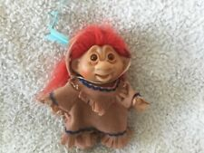 """Troll Doll 5"""" Dam Indian Red Hair , 1986, with feather"""