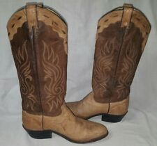 ABILENE Tan Brown Embroidered Distressed Leather Western Cowgirl Boots Womens 7