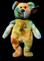 Peace Bear with Errors Retired Beanie Baby Ty New 1996 Babies Amricons