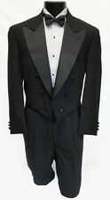 Boys Size 4 Black Chaps Tuxedo Tailcoat Satin Peak Lapels Long Tails Ring Bearer