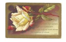 BIRTHDAY Antique Postcard Yellow Rose Scott Verse Gold Frame Border Old Vintage