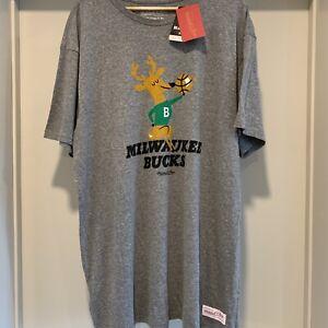Milwaukee Bucks Mitchell and Ness 1971 Heather Gray T Shirt Men's XXL NWT