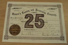 """RARE 1891 Share of STOCK Certificate~""""WOMAN'S CANNING and PRESERVING COMPANY""""~"""